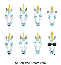 Unicorn set emoji avatar. sad and angry face. guilty and sleeping. Magic horse sleeping emotion face. Fairy Beast Eggplant. Vector illustration