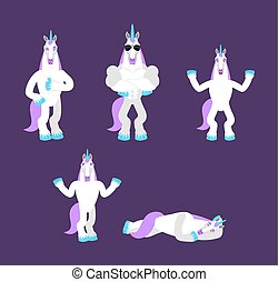 Unicorn set poses. Magic horse happy and yoga. Fairy Beast sleeping and angry. guilty and sad. Vector illustration