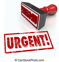 The word Urgent on a red rubber stamp to illustrate an emergency or action required as a top crucial priority or vital document to sign and return