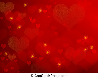 Abstract romantic background illustration with hearts and stars.