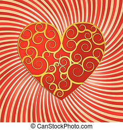 Valentine background with heart decorated with curls, vector illustration