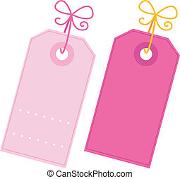 Valentine blank pink tags set isolated on white