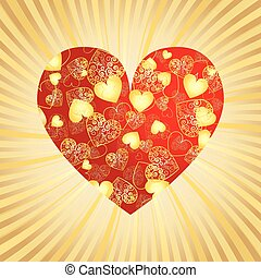 Valentine gold background with heart, vector illustration