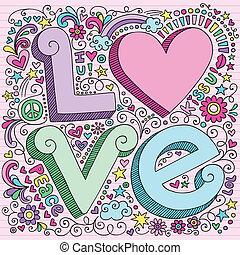 Valentine Love Notebook Doodles Set