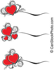 set of hearts with floral ornaments isolated on white background, individual objects very easy to edit in vector format
