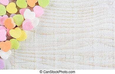 Valentine's Candy Hearts in Corner