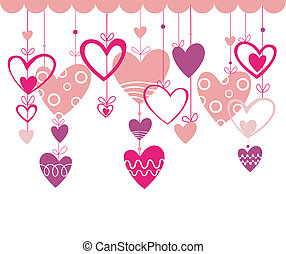 Valentines day vector background with pink heart