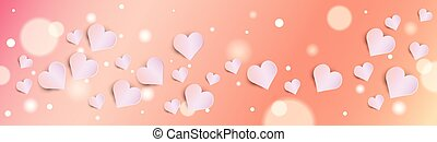 Valentines Day Bokeh Background With Pink Hearts Horizontal Banner
