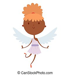 Valentines Day cupid angels cartoon style vector illustration