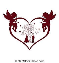 Valentines Day, Cupid, vector illustration