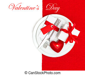 Valentines Day table place setting in red and white