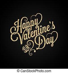 valentines day vintage lettering golden background