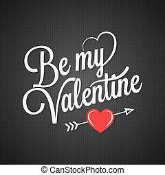 valentines day vintage lettering on black background
