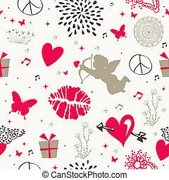 Valentine`s day vintage seamless pattern