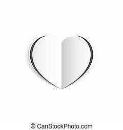 Valentines White Paper Heart Concept
