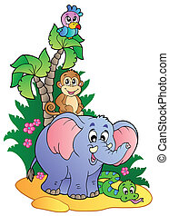 Various cute African animals 1 - vector illustration.