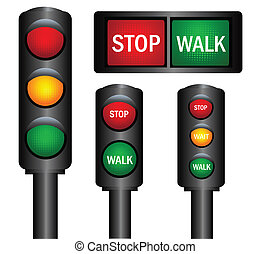 Various traffic lights from different countries vector