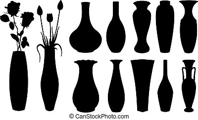 set of different vases isolated on white