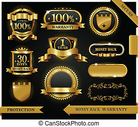 Vector 100% satisfaction guaranteed label and protection sign