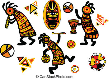 Vector african traditional patterns - dancing musicians