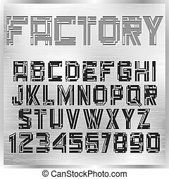 Vector alphabet letters in industrial style