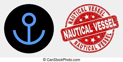 Vector Anchor Icon and Scratched Nautical Vessel Watermark
