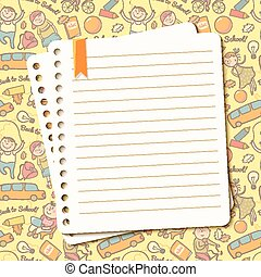 Vector cheerful background with children and torn sheet of notebook for text