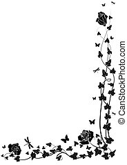 vector background with roses and ivy in black and white colors