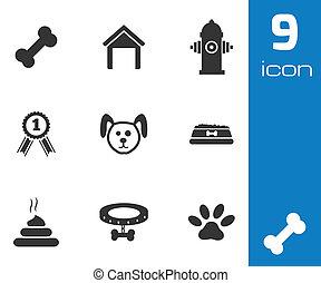 Vector black dog icons set