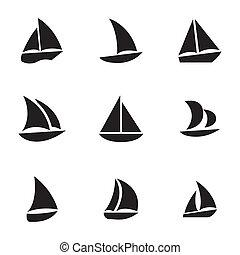 Vector black sailboat icons set