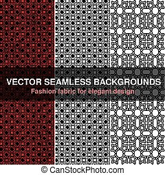 Vector black white red seamless pattern background. Fashion fabric for elegant design. Abstract geometric frames. Stylish decorative label for product or invitation.