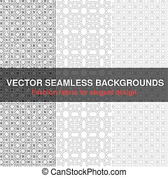 Vector black white seamless pattern background. Fashion fabric for elegant design. Abstract geometric frames. Stylish decorative label for product or invitation.