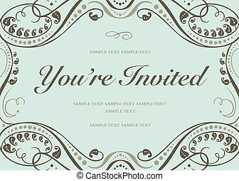Vector swirl floral frame with sample text. Perfect as invitation or announcement. All pieces are separate. Easy to change colors.