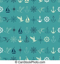 Vector blue nautical elements seamless pattern background