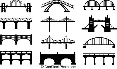 Vector bridges silhouettes icons. Black silhouettes of beautiful bridges on a white background for logos, badges or internet icons.