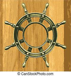 vector bronze wheel on a wood