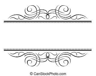 Vector calligraphy vignette ornamental penmanship decorative frame