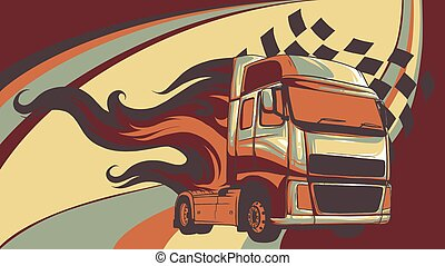 Vector Cartoon Semi Truck. vector illustration design