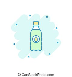 Vector cartoon water bottle icon in comic style. Bottle illustration pictogram. Water plastic container business splash effect concept.