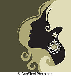 "Vector closeup portrait of a girl with beautiful hair (from my big ""Vintage girl collection"")"