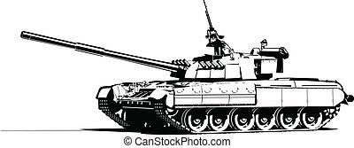 Vector color illustration of modern heavy tank.