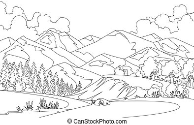 Vector coloring illustration of beautiful summer fields landscape with a dawn, mountian hills, sky, country background in flat cartoon style banner. Sketch style