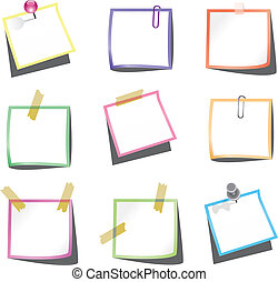 vector design of paper notes with push pin and paperclip