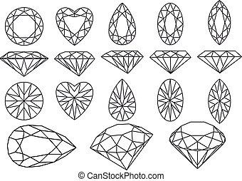 set of diamonds and gemstones, vector illustration