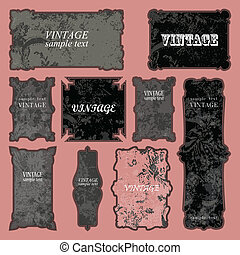 Vector Distressed Frame Set. Easy to edit.