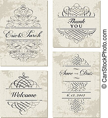 Vector Distressed Ornament and Frame Set