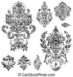 Vector Distressed Ornament Set