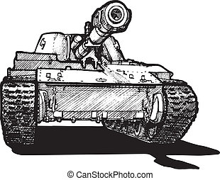Vector drawing of heavy tank stylized as engraving.
