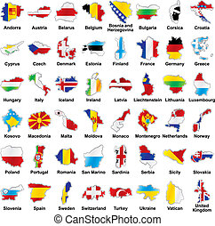 vector editable isolated european flags in map shape with details