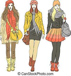 set fashion stylish girls in warm pastel clothes